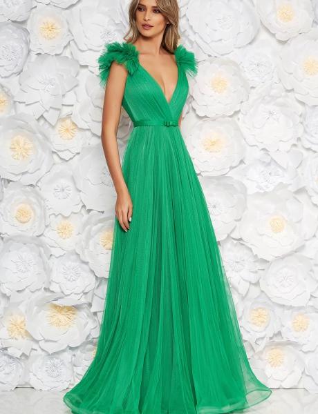 Rochie Ana Radu verde-deschis de lux cu decolteu adanc din tul captusita pe interior cu bust buretat
