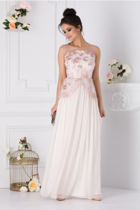 Rochie Leonard Collection bej rose cu broderie florala la bust si in talie