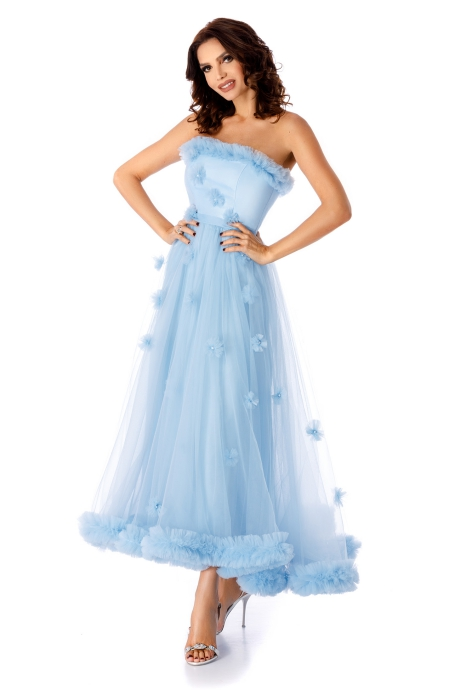 Rochie albastra-deschis de ocazie cu corset din saten si fusta din tull din matase naturala