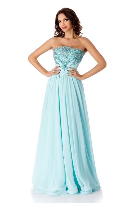 Rochie albastra-deschis de ocazie cu corset din voal cu dantela aplicata manual