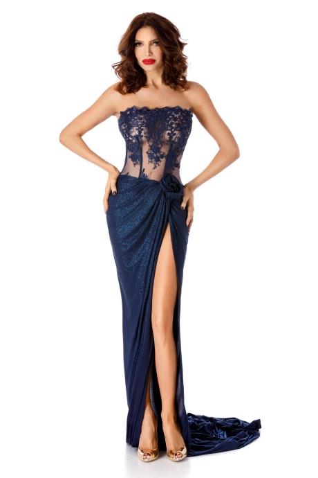 Rochie albastra-inchis de ocazie cu corset din dantela si fusta din lurex