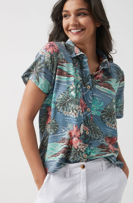 NEXT Camasa de modal cu maneci scurte si imprimeu tropical