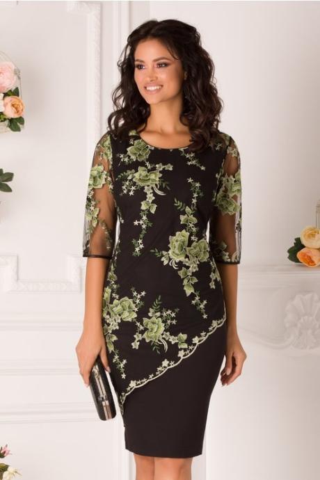 Rochie Lora neagra cu broderie florala verde
