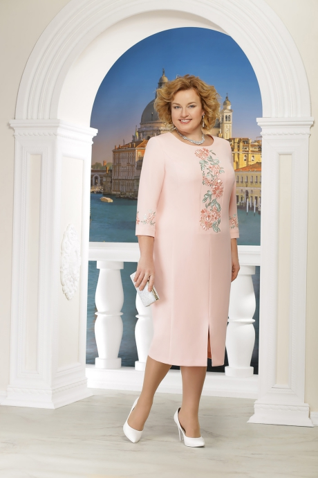 Rochie roz eleganta de ocazie midi cu un croi drept slit frontal cu maneci trei-sferturi