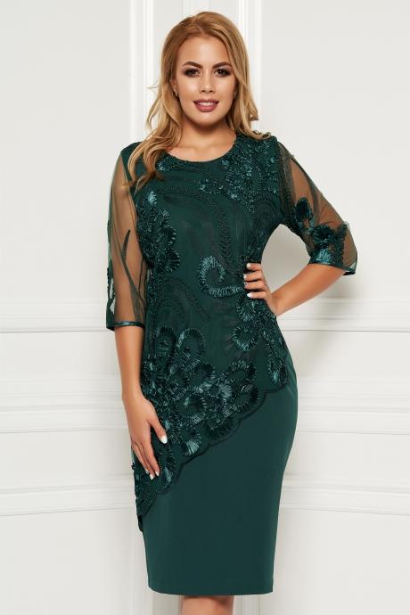 Rochie verde eleganta de zi cu un croi drept midi cu maneci din voal suprapunere cu dantela