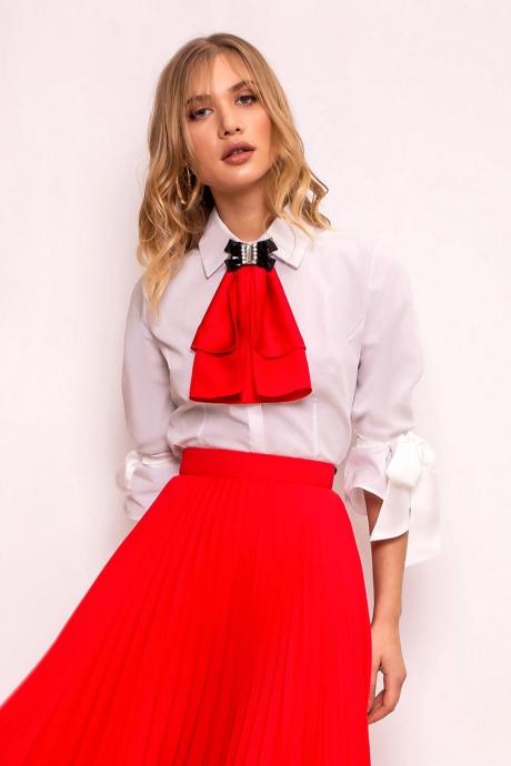 Camasa dama PrettyGirl rosie eleganta cu un croi mulat din material usor elastic cu maneci trei-sferturi