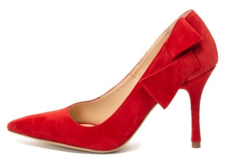Mihaela Glavan Pantofi de piele cu varf ascutit si detaliu cu funda