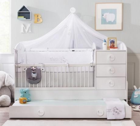 Patut transformabil din pal cu sertar pentru bebe Baby Cotton White