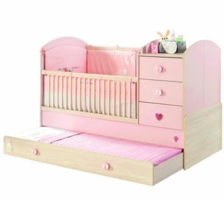 Patut transformabil din pal cu sertar pentru bebe Baby Girl Light Pink : Nature