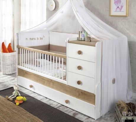 Patut transformabil din pal cu sertar pentru bebe Natura Baby White : Nature