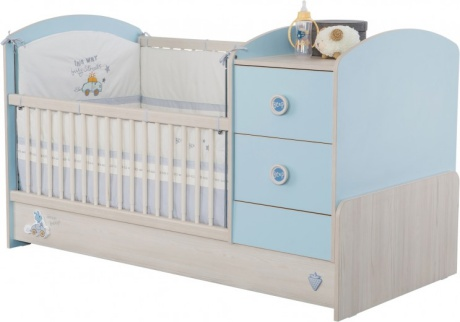 Patut transformabil din pal pentru bebe Baby Boy Light Blue : Nature