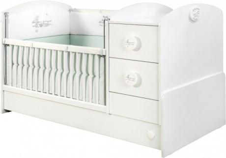 Patut transformabil din pal pentru bebe Baby Cotton White