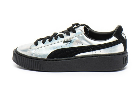 Puma Pantofi sport de piele, cu aspect metalizat Basket Platform Explosive