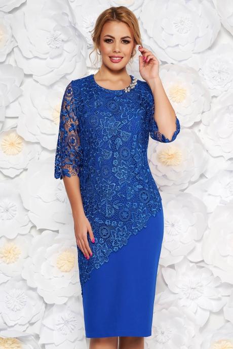 Rochie albastra midi de ocazie cu maneca 3:4 si croi mulat din stofa usor elastica suprapunere cu dantela