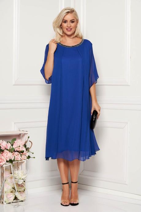 Rochie albastra midi de ocazie din material vaporos cu croi larg cu aplicatii stralucitoare la decolteu si captusita pe interior