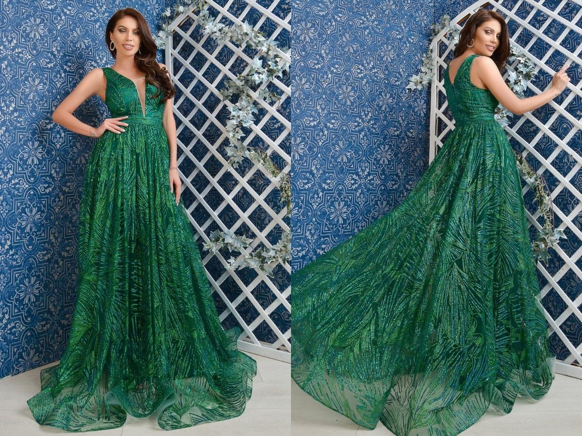 Rochie de lux lunga Atmosphere verde smarald cu fir lame-min