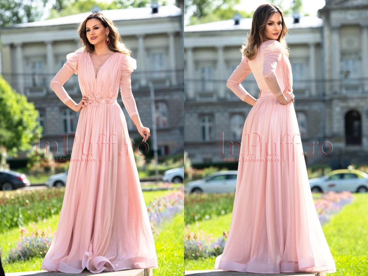 Rochie de seara lunga stralucitoare roz-min