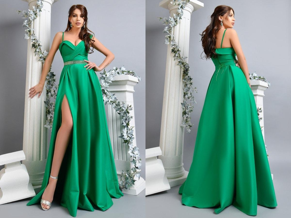 Rochie de seara lunga verde Atmosphere din tafta-min