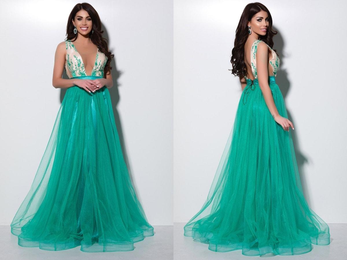 Rochie lunga eleganta turquoise din tul Atmosphere-min