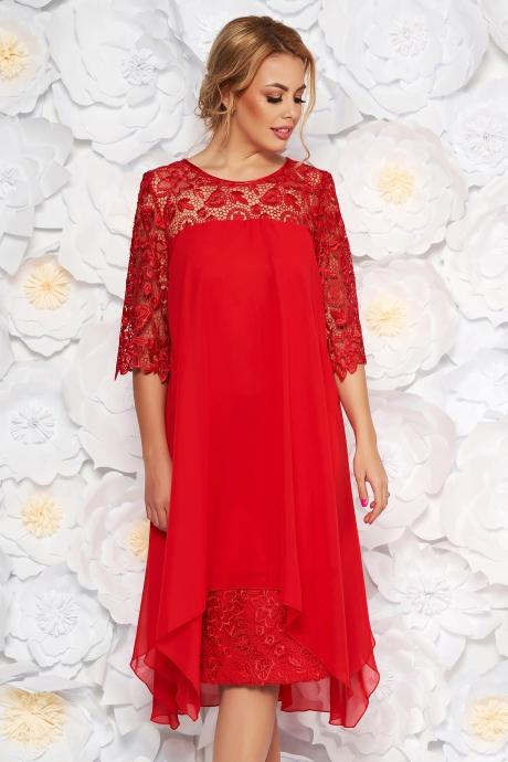 Rochie rosie de ocazie cu un croi drept cu maneci din dantela din stofa usor elastica din voal