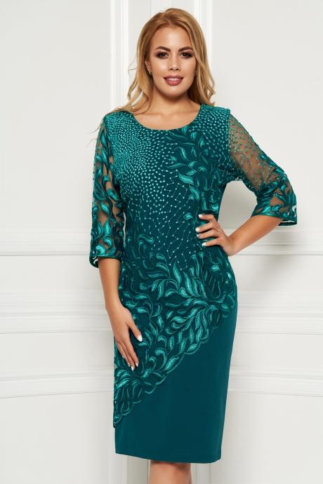 Rochie verde eleganta midi cu un croi cambrat din stofa suprapunere cu dantela cu maneci din dantela