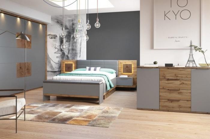 Set Mobila Dormitor 6 piese Livorno Oak : Grey