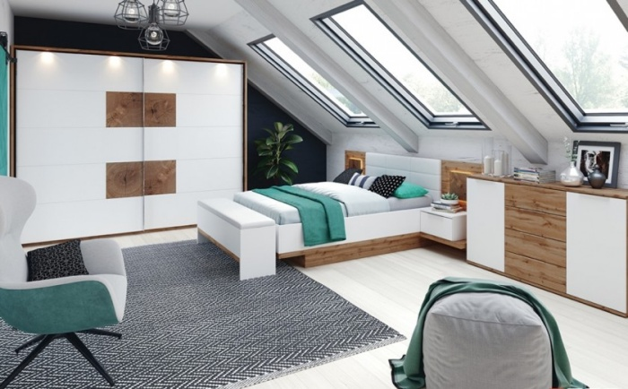 Set Mobila Dormitor 6 piese Livorno Oak : White