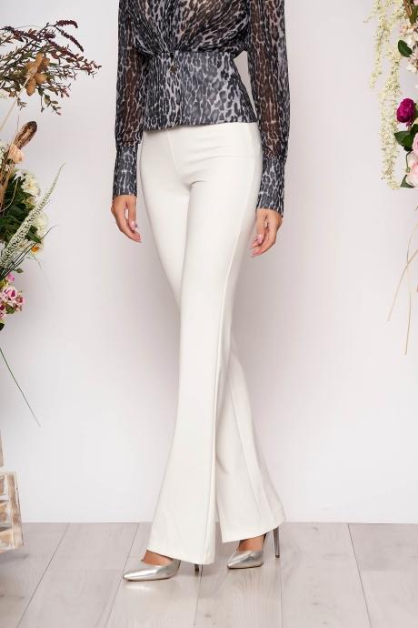 Pantaloni PrettyGirl albi eleganti lungi si evazati cu talie medie