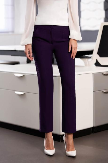 Pantaloni StarShinerS mov office cu un croi drept cu talie medie cu buzunare din stofa usor elastica