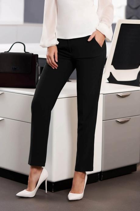 Pantaloni StarShinerS negri office cu un croi drept cu talie medie cu buzunare din stofa usor elastica