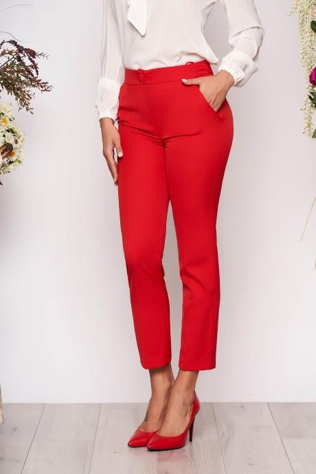 Pantaloni StarShinerS rosii office cu un croi drept cu talie medie cu buzunare din stofa usor elastica