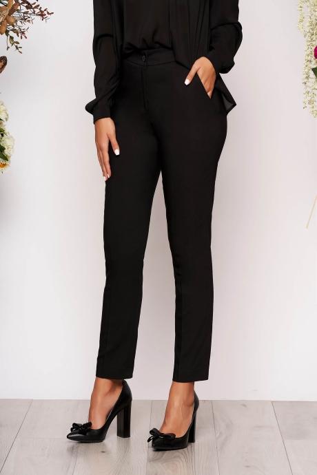 Pantaloni negri lungi eleganti cu talie medie conici din stofa subtire cu buzunare