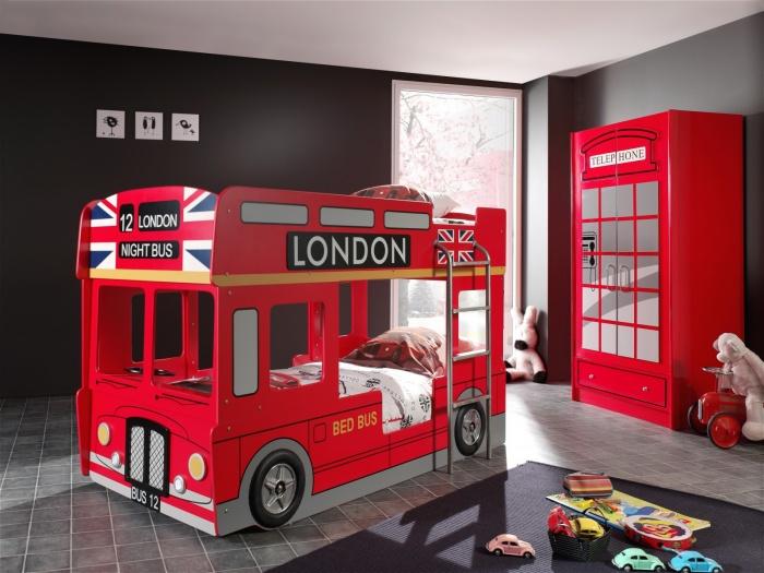 Pat din MDF pentru copii London Bus Rosu