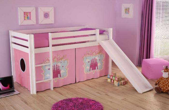 Pat etajat din lemn de pin cu topogan pentru copii Pino Castle