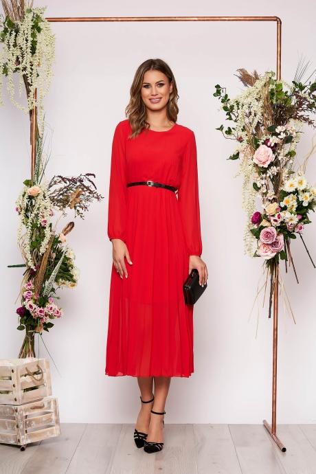 Rochie SunShine rosie eleganta midi plisata cu croi larg din voal cu curea din imitatie de piele