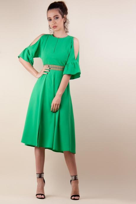 Rochie clos cu brau verde crud