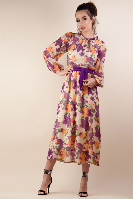 Rochie midi din voal floral Bej