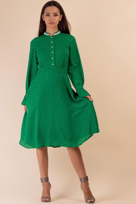Rochie smart casual cu buline verde crud