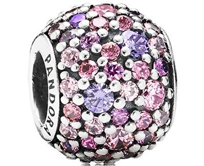 Accesoriu brățară tip PANDORA cu cristale violet și roz 791261ACZMX