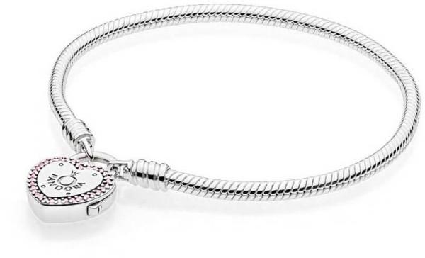Brățară din argint cu lacăt în formă de inimă 596586fpc
