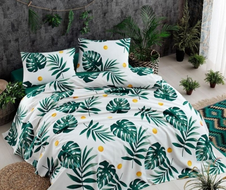 Lenjerie de pat Double Pique Monstera Green