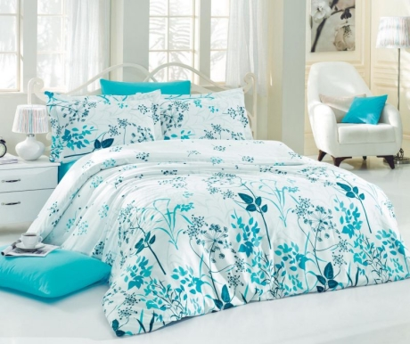 Lenjerie de pat King Satin Supreme Blue Garden