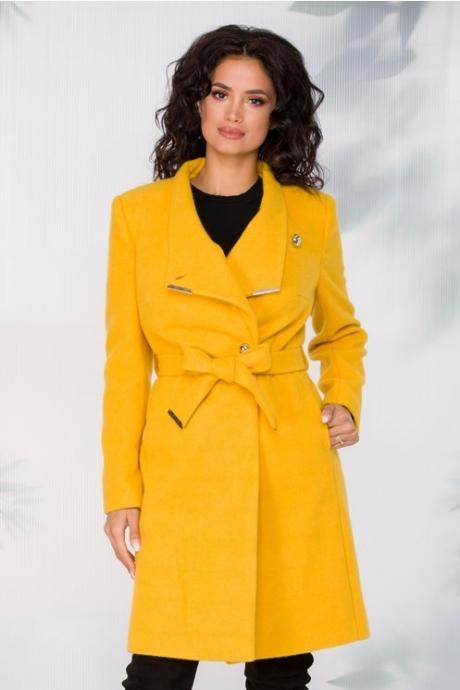 Palton Akita galben cu cordon in talie