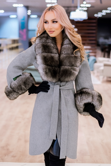 Palton dama argintiu din lana de alpaca cu guler din blana naturala de samur Natasha