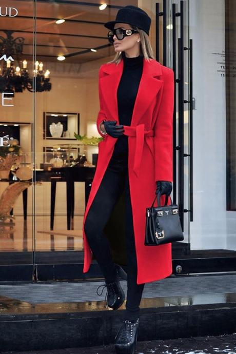 Palton dama rosu lung drept cu buzunare din stofa Brianna