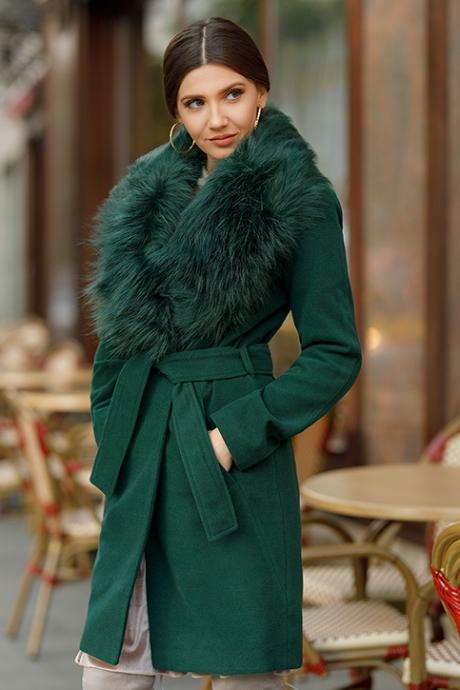 Palton dama verde lung cambrat cu guler cu blana din stofa Vivienne