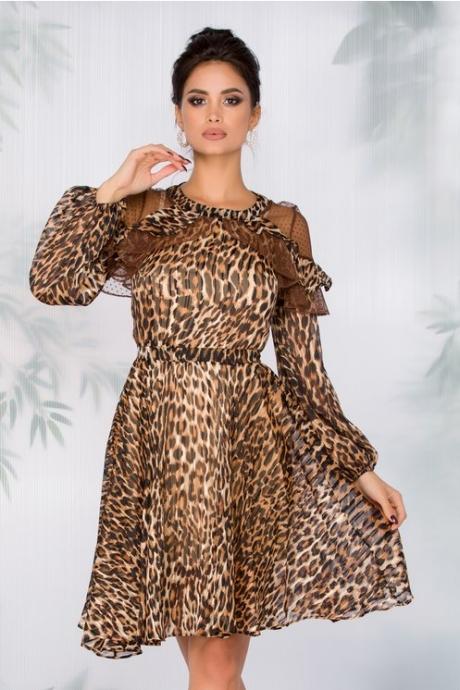 Rochie Aimee cu animal print maro accesorizata cu tull cu picatele