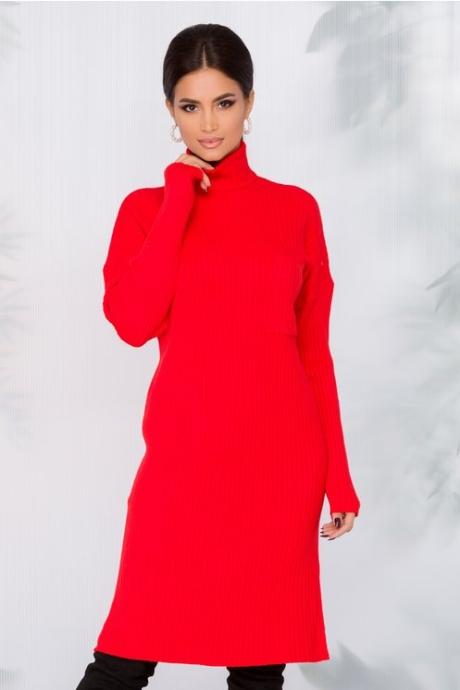 Rochie Daria rosie cu textura reiata
