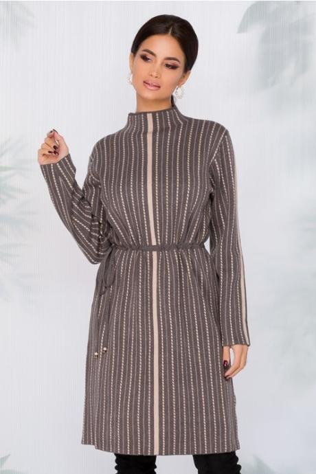 Rochie Flavia tricotata gri cu imprimeu in dungi bej