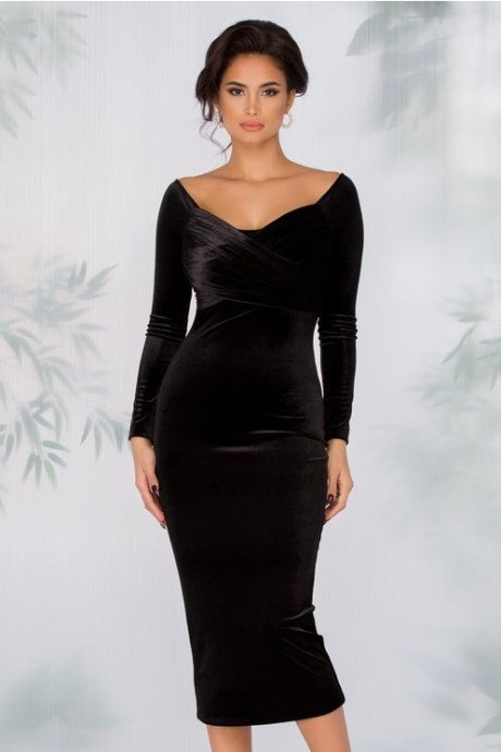 Rochie Irina din catifea neagra cu maneci lungi